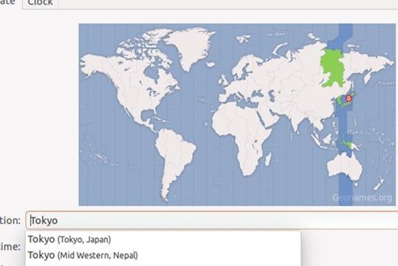 ubuntu世界地図設定